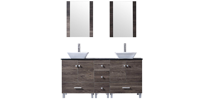 BATHJOY 60-inch Bathroom Vanity with 2 Sinks
